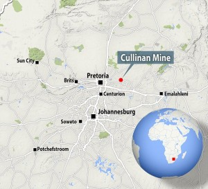 The Map of Cullinan Mines and where it was found