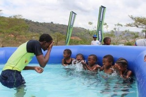 Some Excited Little Ones On Their First Swimming Lesson