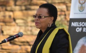 Graca Machel addressing the crowds this morning